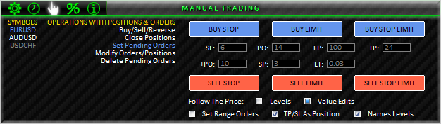 Fig. 41. MANUAL TRADING; SET PENDING ORDERS section