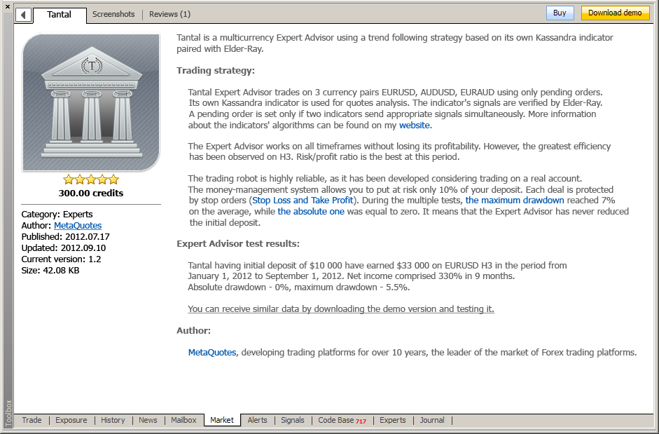 Description of Tantal Expert Advisor in Market via MetaTrader 5 trading terminal