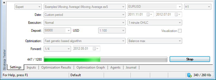 Optimizing the trading system in MetaTrader 5 terminal tester