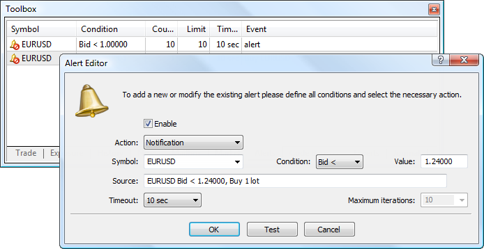 Sending push notifications via Alerts in MetaTrader 5
