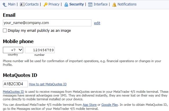 MQL5.community profile security settings