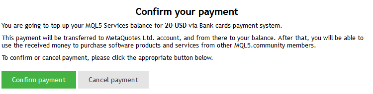Redirect to an external payment system
