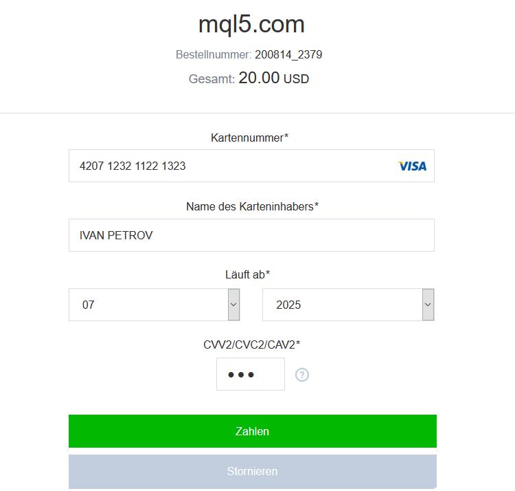 Geben Sie Ihre Kartendaten ein und überprüfen Sie den Zahlungsbetrag