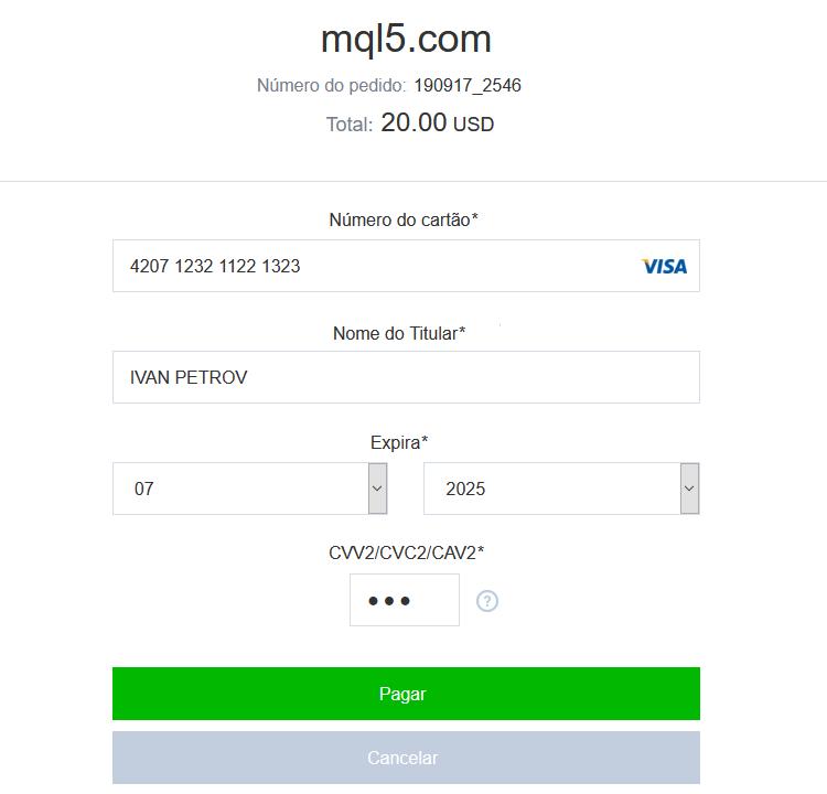 Digite os dados do cartão e verifique o valor do pagamento