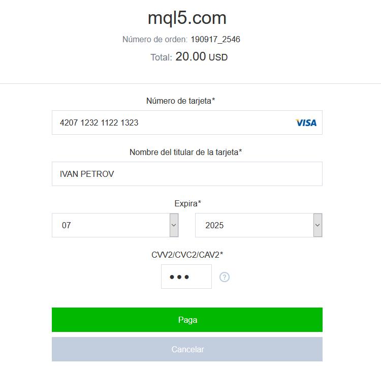 Indique los datos de la tarjeta y compruebe la suma de pago