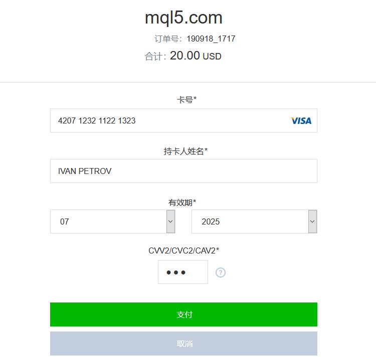 输入您的银行卡信息,并检查付款金额