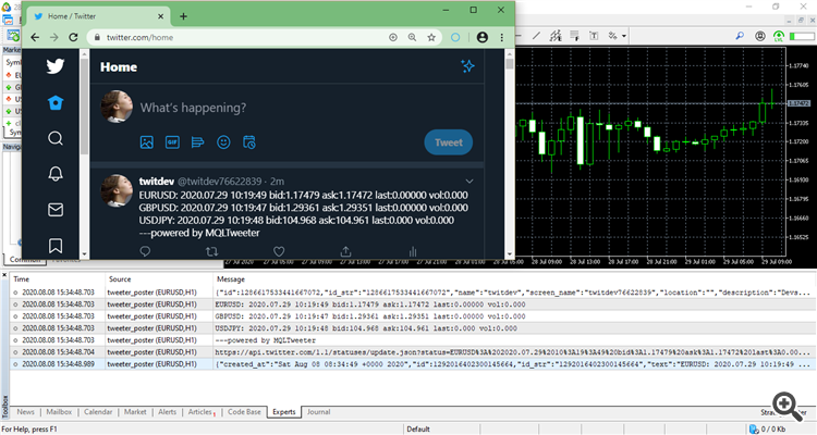 Tweet a partir do terminal MetaTrader 5