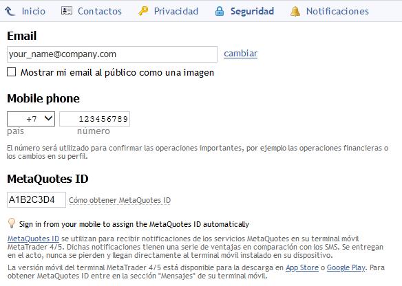 Ajustes de seguridad del perfil en MQL5.community