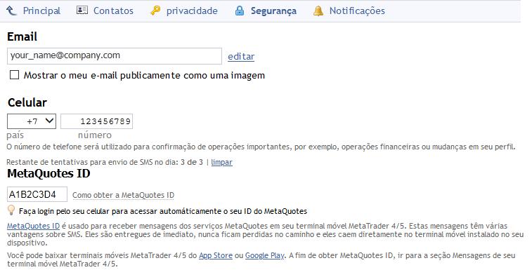 Configurações de segurança do perfil da MQL5.community