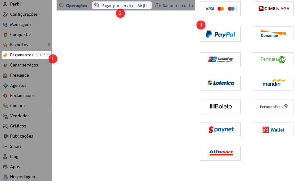 Escolha do método de pagamento