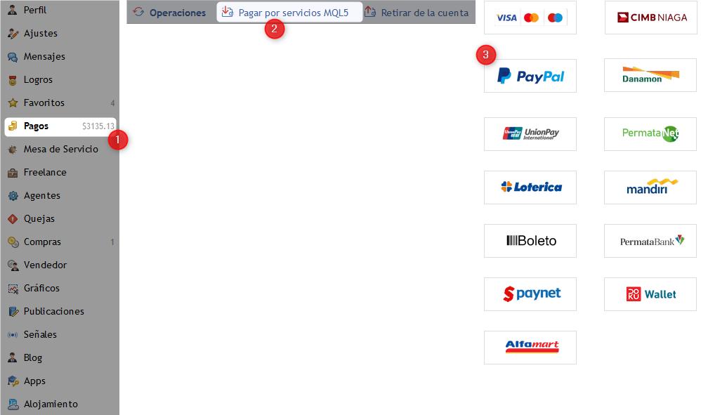 Selección del sistema de pago