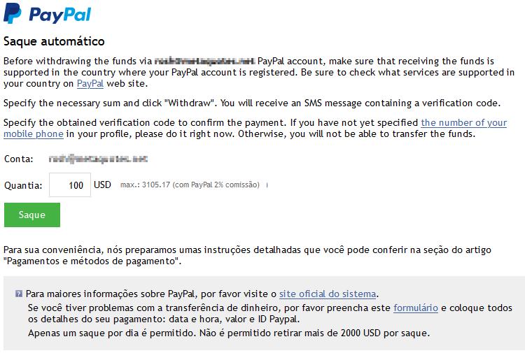 Valor de retirada incluindo comissão do PayPal