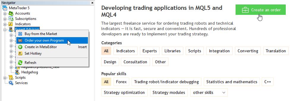 Creating a Freelance order