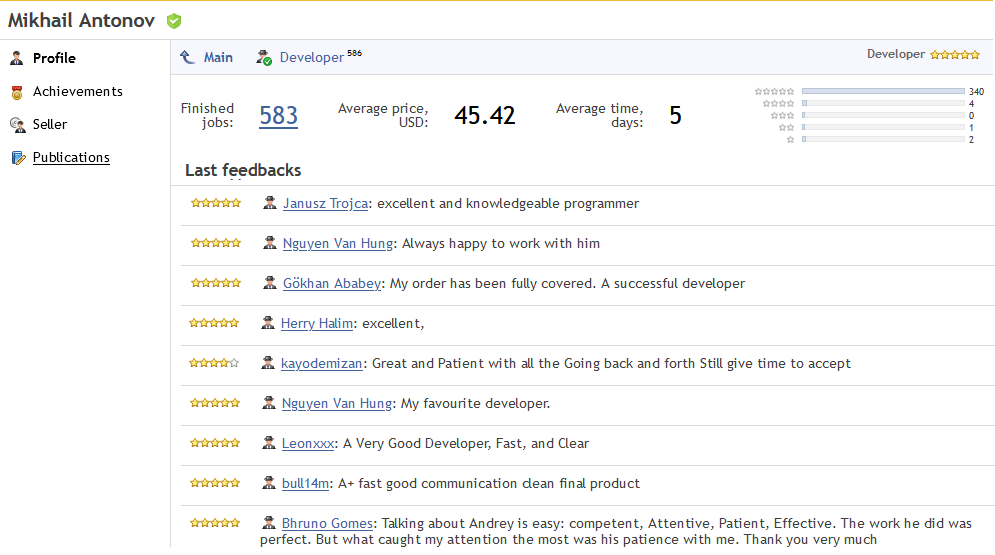 Customer reviews in the Developer's profile