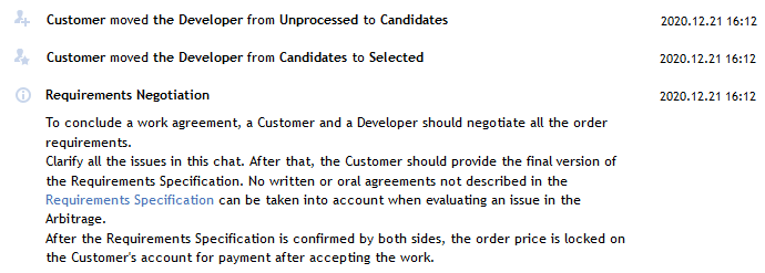 The Customer selects the Developer