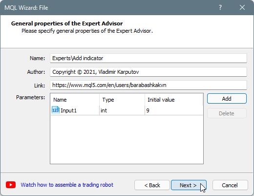 Expert Advisor (template)