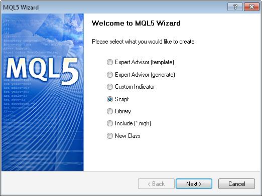 Abb. 1 MQL5-Assistent - Script