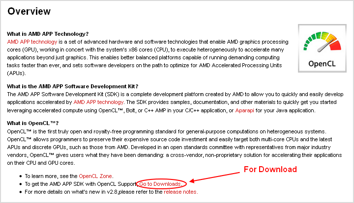 Fig. 2.2.1. Página de transferência do AMD APP SDK.