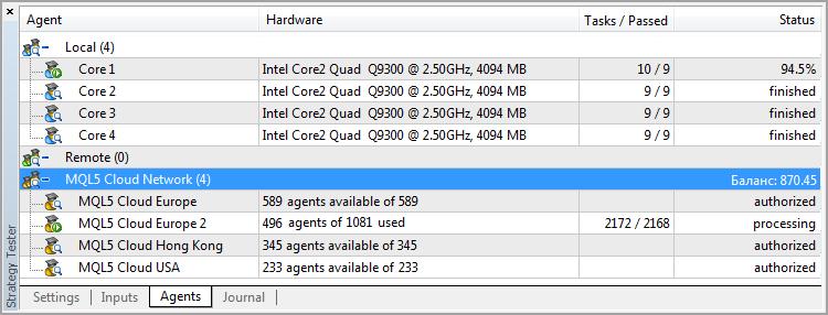 Agentes de la nube ejecutando pasadas para la optimización de MACD Sample
