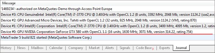 Mensajes en el Registro de MetaTrader 5 sobre dispositivos OpenCL detectados