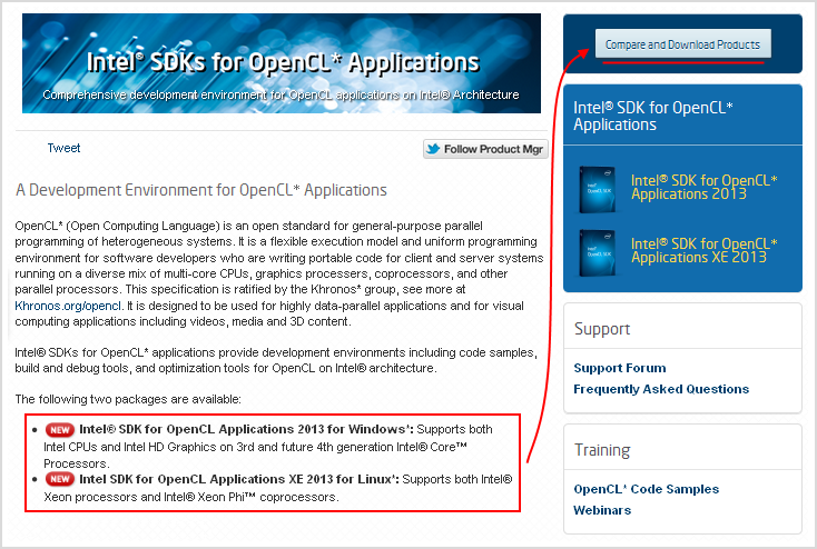 Fig. 1.1. Intel SDK for OpenCL download page.