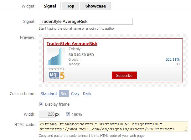 Configuración del widget de una señal comercial