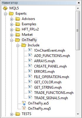 Рис. 2. Файлы проекта в навигаторе редактора MetaEditor