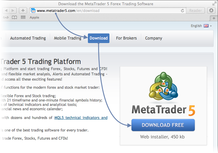 Downloading MetaTrader 5 distribution package