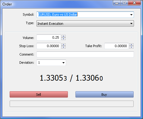 Fig. 1. The Order window in the MetaTrader 5 client terminal.