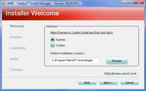 Fig. 2.1.5. AMD Catalyst Install Manager.