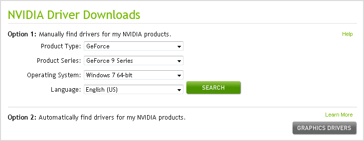 Fig. 3.1. NVidia driver download page.