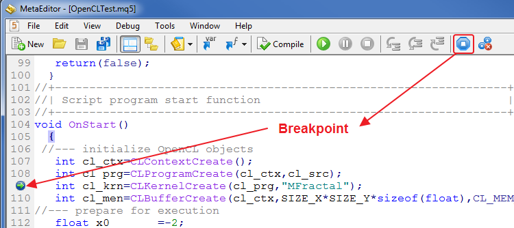 Fig. 2. Setting breakpoints