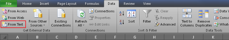 Figure 3. The Data tab in Excel 2010