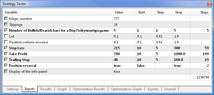 Fig. 4. Parameters disabled for optimization are grayed out