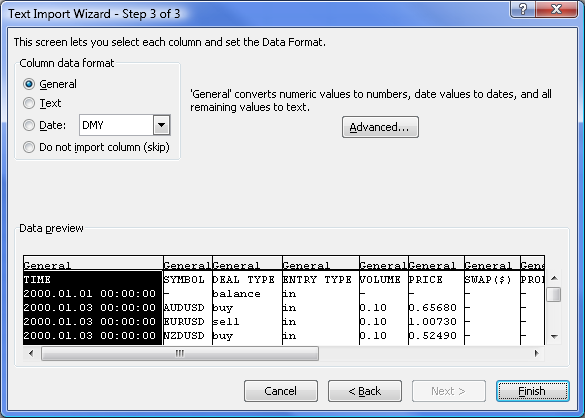 "Figure 6. The ""Text Import Wizard - Step 3 of 3"" dialog"