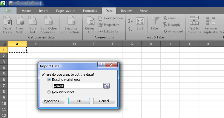 Figure 7. Selecting the cell for data import in Excel 2010