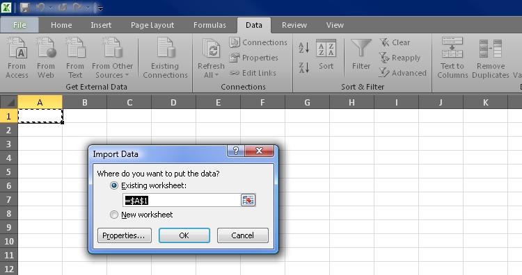 Figura 7. Seleccionar la celda para la importación de datos en Excel 2010.