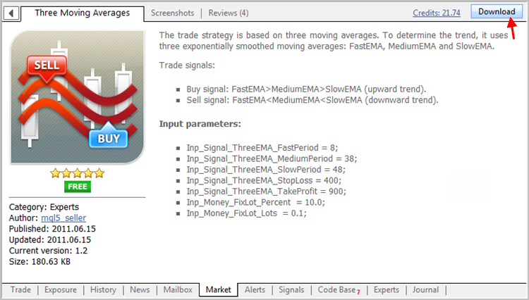 Downloading the Expert Advisor from MQL5 Market directly in the MetaTrader 5 terminal