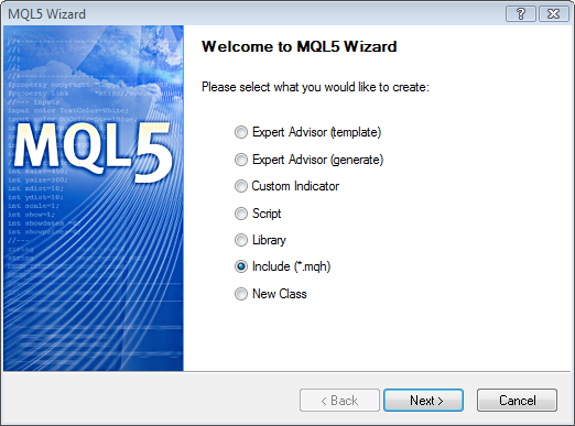 Figure 4. MQL5 Wizard. Creating an include file