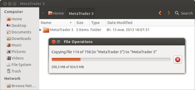 Copia del terminal MetaTrader 5 ya instalado