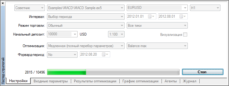 Настройки оптимизации MACD Sample