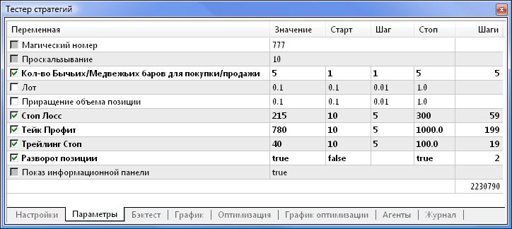 Рис. 4. Запрещенные для оптимизации параметры недоступны для выбора