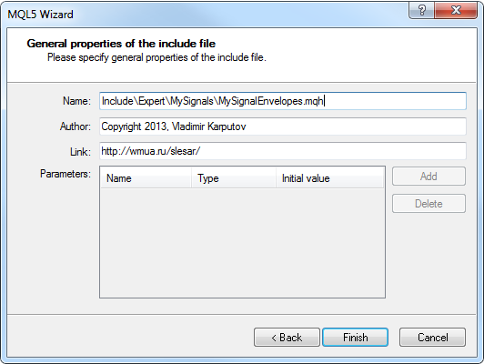 Fig. 9. MQL5 Wizard. Location of the include file