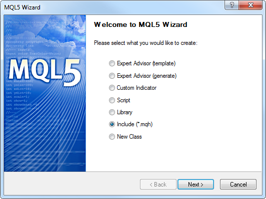 Fig. 8. MQL5 Wizard. Creating an include file