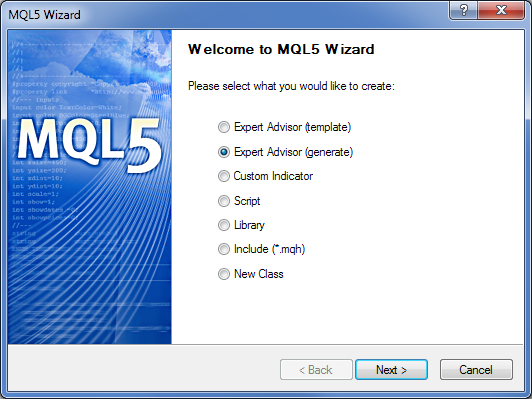 Fig. 1. Creating an Expert Advisor in the MQL5 Wizard
