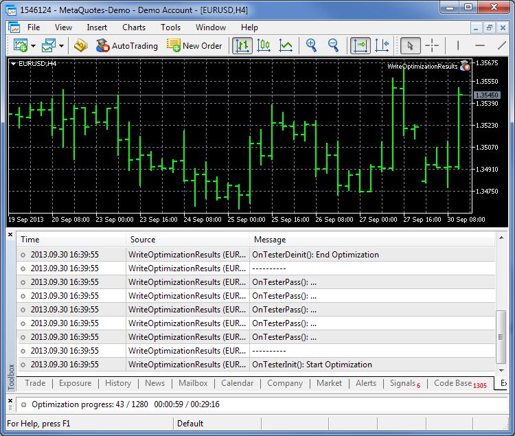 Fig.1 - Visualización de los mensajes de las funciones de prueba y optimización en el diario
