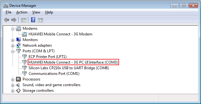 The modem as displayed in the device manager