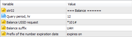 Parameters of the request for the available balance