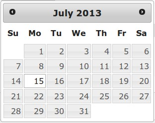 Рис. 2. jQuery datepicker
