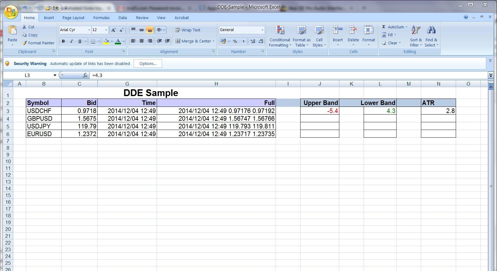 Tim Hazelhurst - MT$ to Excel sheet DDE link (transfering